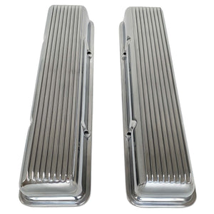 ansen small block chevy corvette all fins valve covers, polished, top view