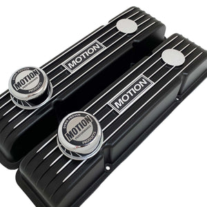 ansen custom engraving, baldwin motion valve covers, chrome breathers, small block chevy, black, angled view