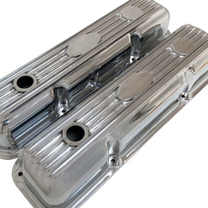 ansen custom engraving, ford fe short polished custom valve covers, angled view