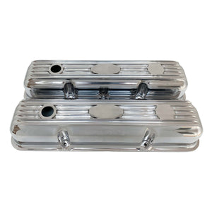 ansen custom engraving, ford fe short polished custom valve covers, front view