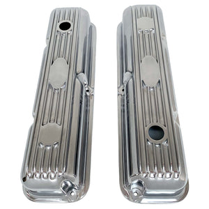 ansen custom engraving, ford fe short polished custom valve covers, top view