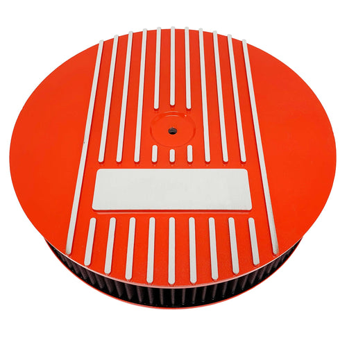 ansen custom engraving, 13 inch round air cleaner kit, orange, front view