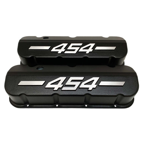 ansen big block chevy 454 valve covers, raised letter, black, front view