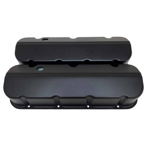 ansen custom engraving, chevy big block valve covers, black, front view