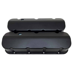 ansen valve covers, chevy big block, black powder coat, front view