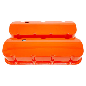 ansen custom engraving, chevy big block valve covers, orange, front view
