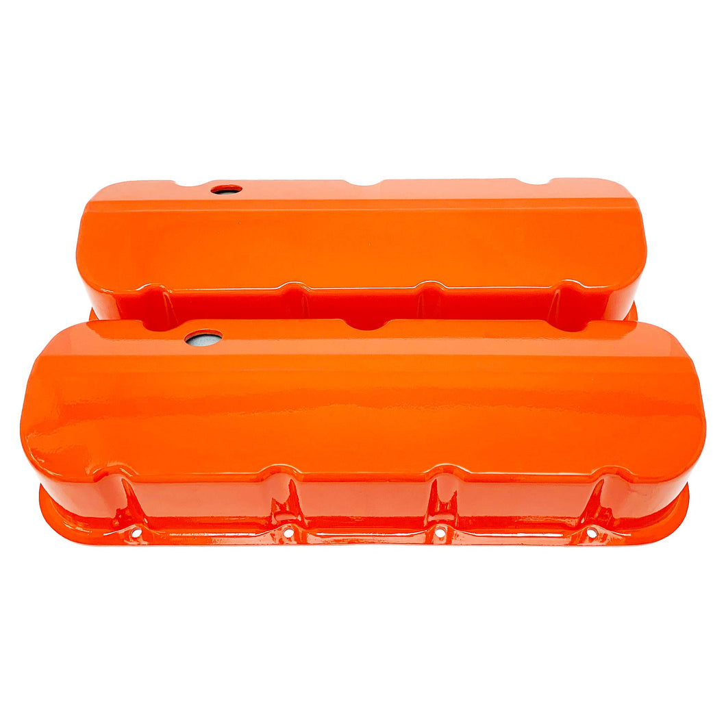 ansen custom engraving, big block chevy valve covers, orange, front view