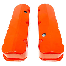Load image into Gallery viewer, ansen custom engraving, chevy big block valve covers, orange, top view