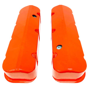 ansen custom engraving, big block chevy valve covers, orange, top view