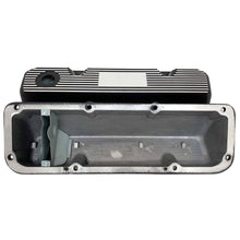 Load image into Gallery viewer, ansen valve covers, ford, 351 cleveland, logo, black powder coat, underside view
