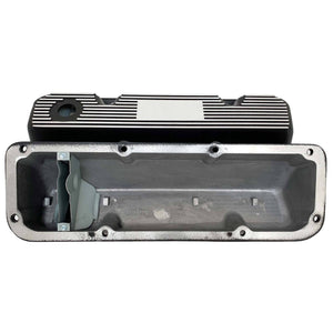 ansen valve covers, ford, 351 cleveland, logo, black powder coat, underside view
