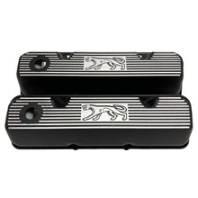 Load image into Gallery viewer, ansen custom engraving, ford 351 cleveland valve covers, cougar logo, black, front view