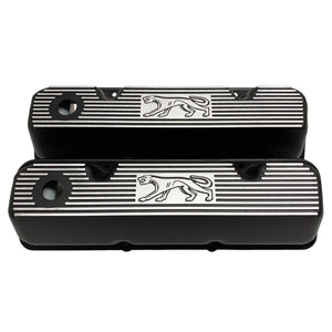 ansen custom engraving, ford 351 cleveland valve covers, cougar logo, black, front view