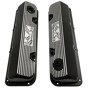 ansen custom engraving, ford 351 cleveland valve covers, cougar logo, black, top view