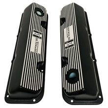 Load image into Gallery viewer, ansen custom engraving, de tomaso pantera ford 351 cleveland valve covers, black, top view