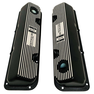 ansen custom engraving, de tomaso pantera ford 351 cleveland valve covers, black, top view