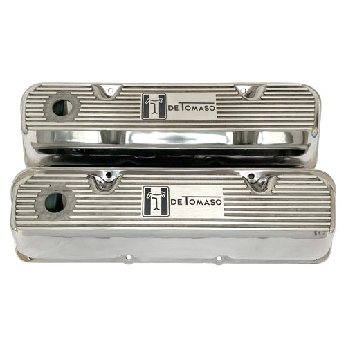 ansen valve covers, ford, 351 cleveland, de tomaso pantera logo, polished, front view