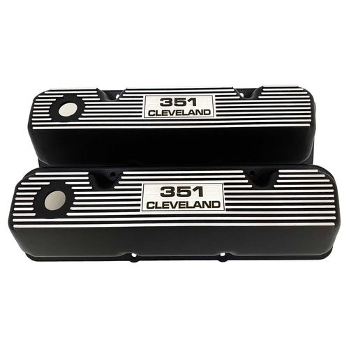 ansen valve covers, ford, 351 cleveland, logo, black powder coat, front view