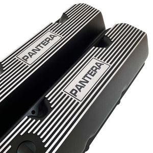 ansen custom engraving, de tomaso pantera valve covers, ford 351 cleveland, black, angled view