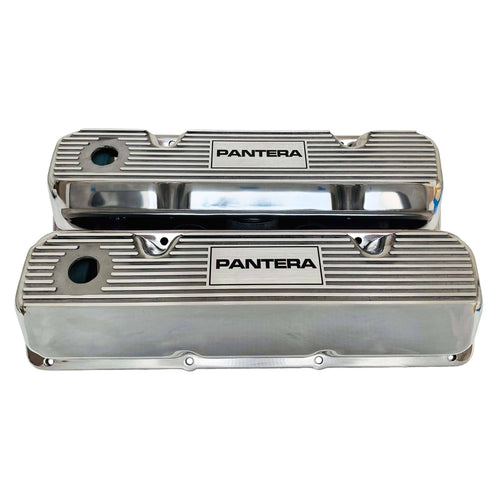 ansen valve covers, ford, 351 cleveland, pantera, laser engraved, polished, front view