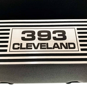ansen valve covers, ford, 393 cleveland, laser engraved logo, black powder coat, close up view