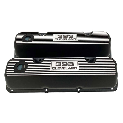 ansen valve covers, ford, 393 cleveland, laser engraved logo, black powder coat, front view