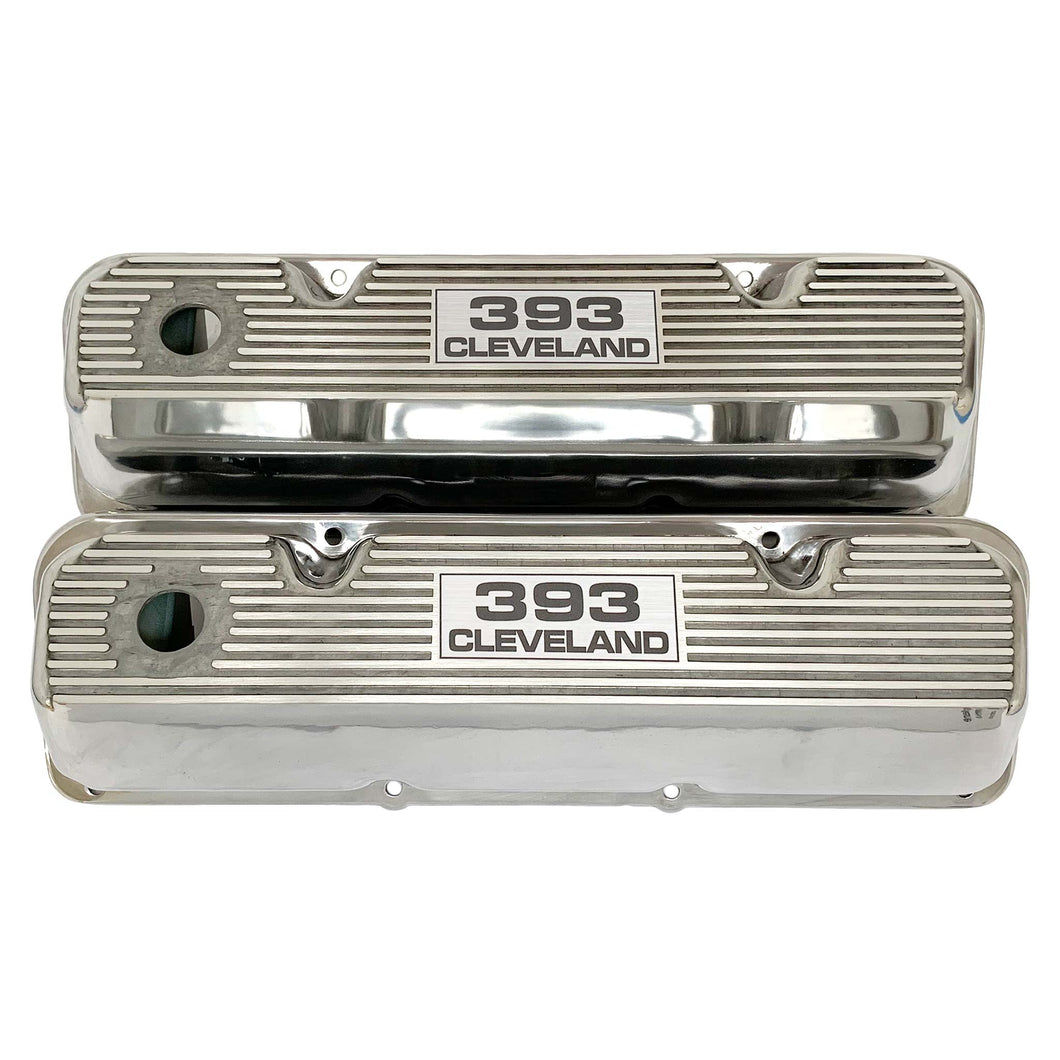 ansen valve covers, ford, 393 cleveland, laser engraved logo, polished, front view
