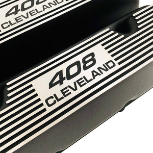ansen valve covers, ford, 408 cleveland, black powder coat, close up view