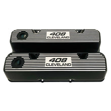 Load image into Gallery viewer, ansen valve covers, ford, 408 cleveland, black powder coat, front view