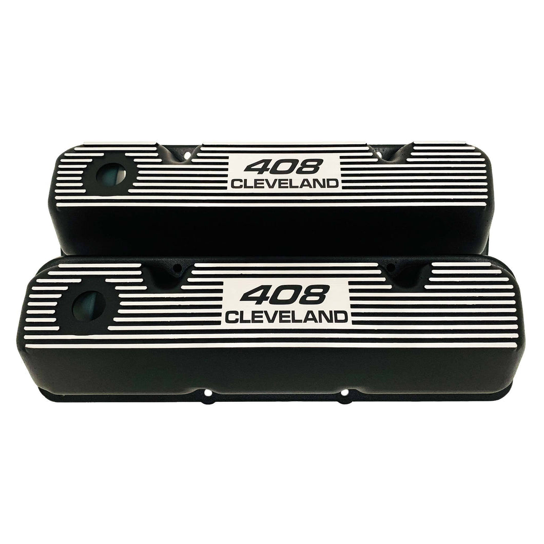 ansen valve covers, ford, 408 cleveland, black powder coat, front view