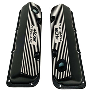 ansen valve covers, ford, 408 cleveland, black powder coat, top view