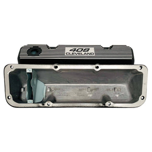 ansen valve covers, ford, 408 cleveland, black powder coat, underside view