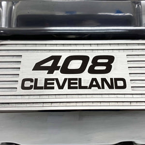 ansen valve covers, ford 408 cleveland, laser engraved, polished, close up view
