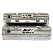 Load image into Gallery viewer, ansen valve covers, ford 408 cleveland, laser engraved, polished, front view