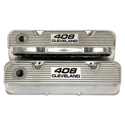 ansen valve covers, ford 408 cleveland, laser engraved, polished, front view