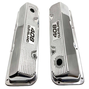 ansen valve covers, ford 408 cleveland, laser engraved, polished, top view