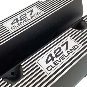 ansen custom engraving, ford 427 cleveland valve covers, black, close up view