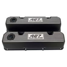 Load image into Gallery viewer, ansen custom engraving, ford 427 cleveland valve covers, black, front view
