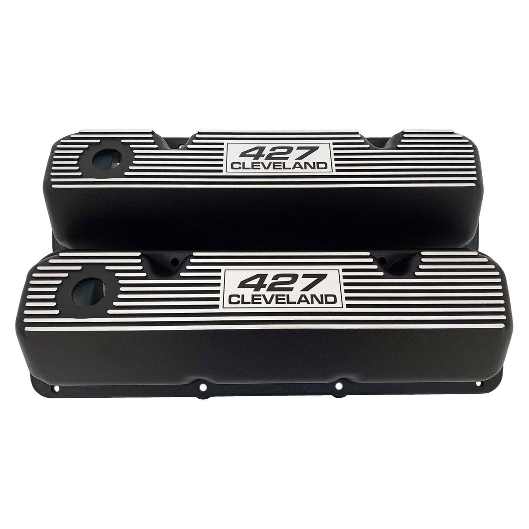 ansen custom engraving, ford 427 cleveland valve covers, black, front view