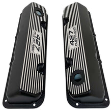 Load image into Gallery viewer, ansen custom engraving, ford 427 cleveland valve covers, black, top view