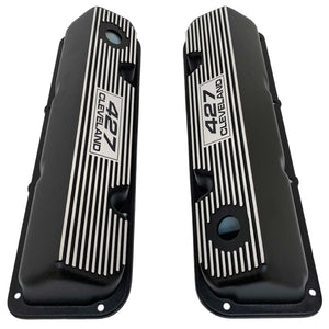 ansen custom engraving, ford 427 cleveland valve covers, black, top view