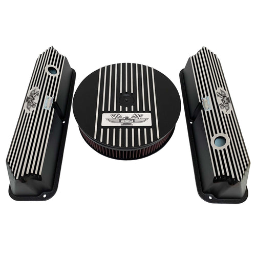 ansen custom engraving, ford fe tall 390 american eagle valve covers, air cleaner lid kit, black, front view