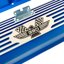 Load image into Gallery viewer, ford fe 390 american eagle valve covers, tall, finned, blue, ansen usa, close up view