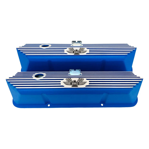 ansen valve covers, ford, fe 390, american eagle, laser engraved, blue powder coat, front view