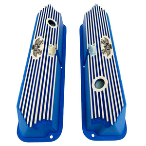 ford fe 390 american eagle valve covers, tall, finned, blue, ansen usa, top view