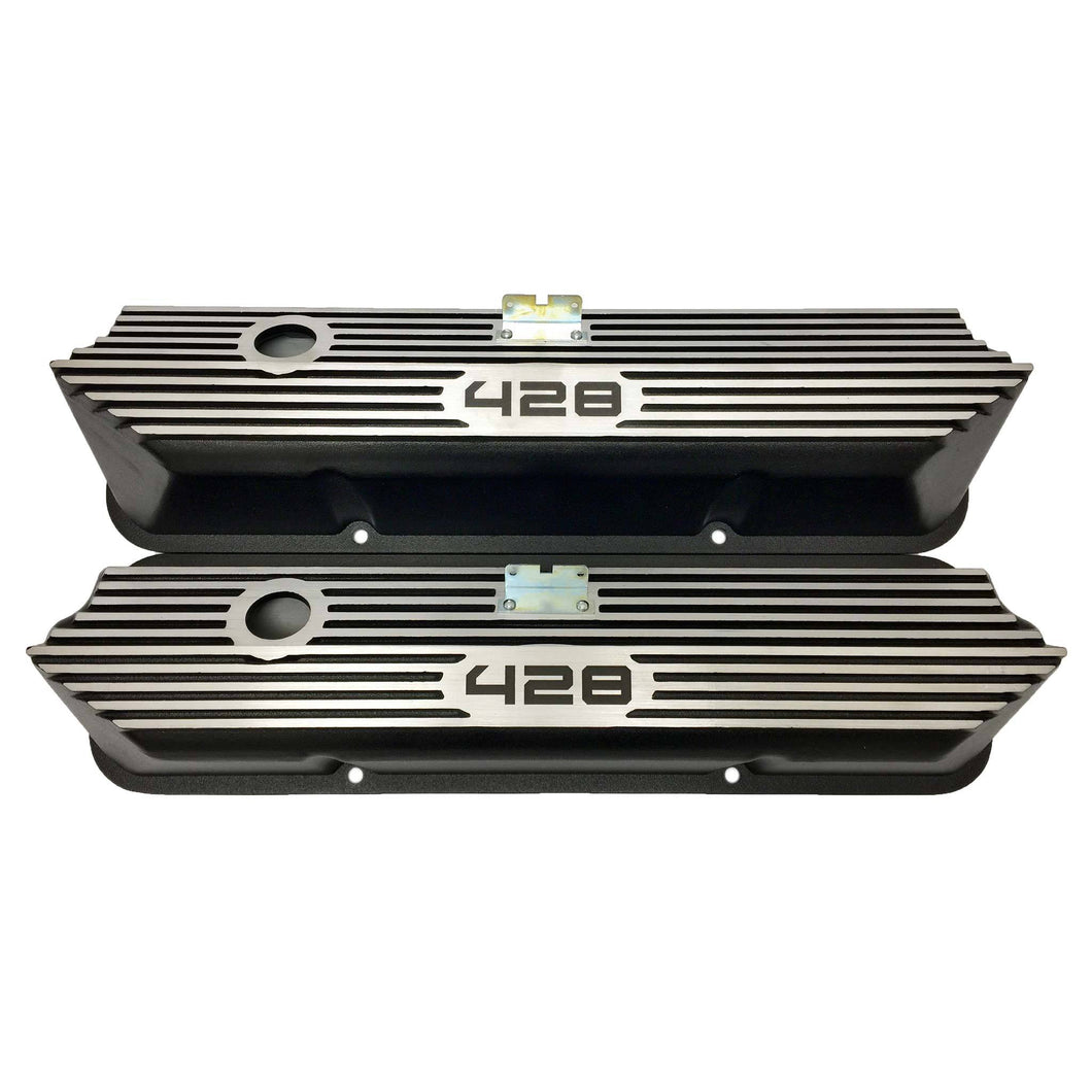ansen valve covers, ford, fe 428, laser engraved, black powder coat, front view