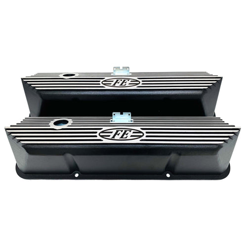ansen valve covers, ford, fe, all fins, black powder coat, front view