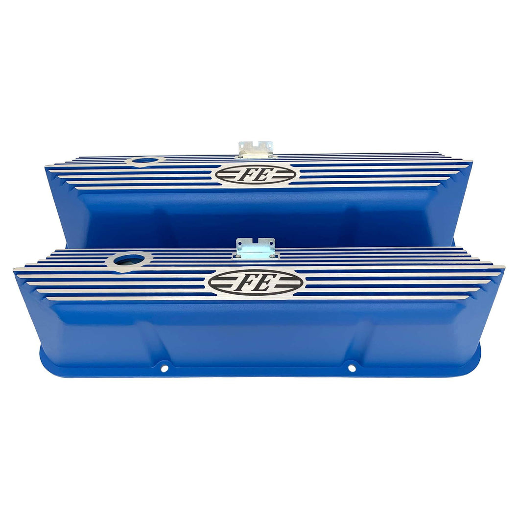 ford fe logo all fins valve covers, blue, ansen usa, front view