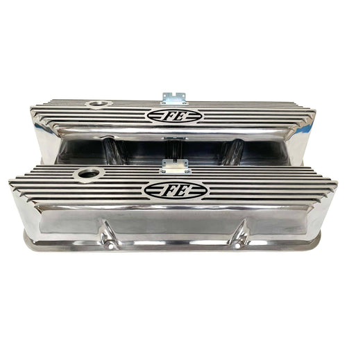 ansen valve covers, ford fe, laser engraved, polished, front view