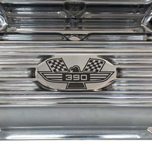 Load image into Gallery viewer, ansen custom engraving, ford fe 390 valve covers american eagle polished, logo view